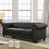 Furniture of America Martine Traditional Tufted Chesterfield Sofa