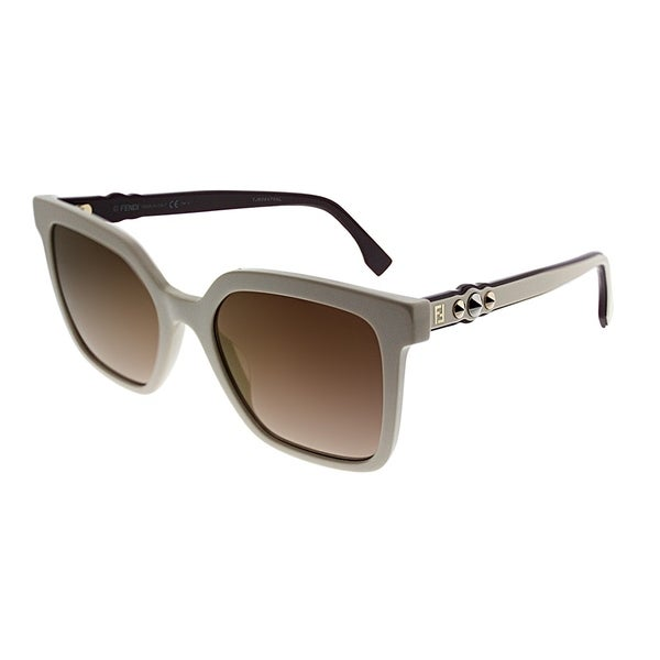1ce44e2b3181 Fendi Square FF 0269 SZJ JL Women Ivory Frame Gold Mirror Lens Sunglasses