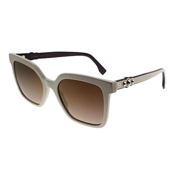 379fb6d46ba2 Fendi Square FF 0269 SZJ JL Women Ivory Frame Gold Mirror Lens Sunglasses