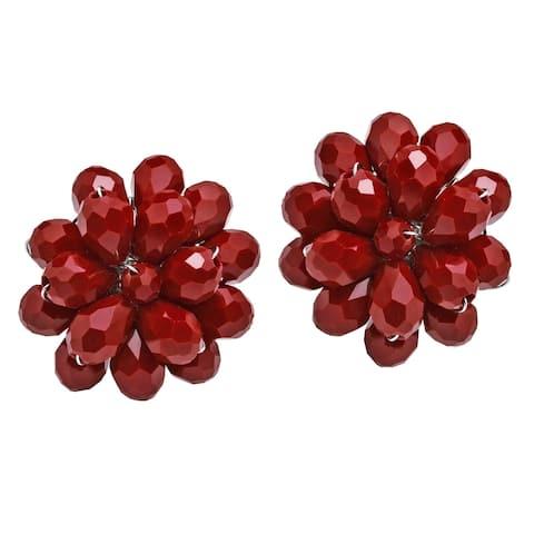 Handmade Dazzling Chrysanthemum Floral Crystal Earrings (Thailand)