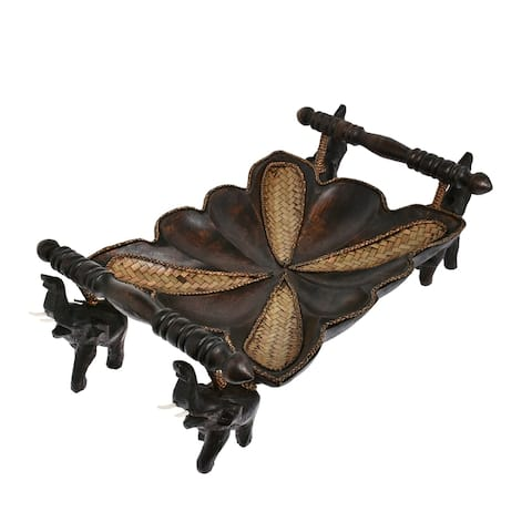 Handmade Majestic Elephant Carved Rain Tree Wooden 9x12in Tray with Handles (Thailand)