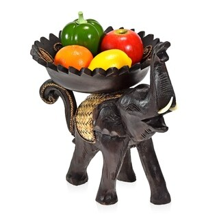 Handmade Wooden Cheerful Carved Elephant Carrying Tray Bowl 9in (Thailand)