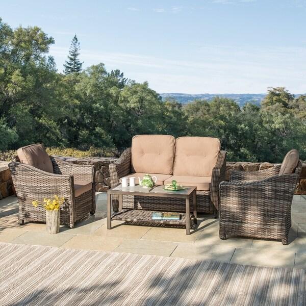 Corvus Dinard 4-piece Wicker Patio Sofa Set with Cushions