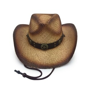 Zodaca Unisex Old Stone Deputy Smoke Brown Cowboy Drifter Style Hat with Star Leather Conch