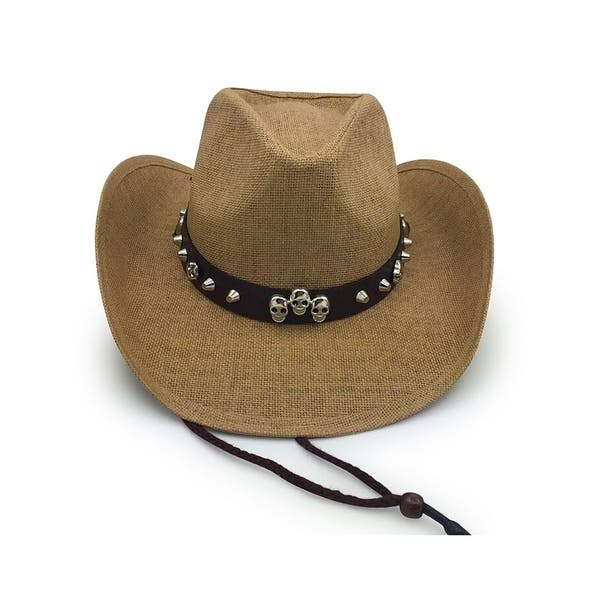 Access Headwear Men s Old Stone Bones Light Brown Cowboy Drifter Style Hat  with Leather Star Studded ... d6b5a7e1631
