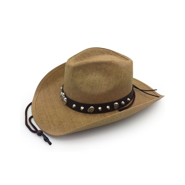 226968eda43 ... Access Headwear Men s Old Stone Bones Light Brown Cowboy Drifter Style  Hat with Leather Star Studded