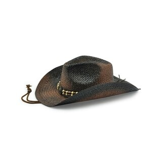 Access Headwear Men's Women's Unisex Old Stone Fred Brown/Black Cowboy Drifter Style Hat with Leather Beaded Conch