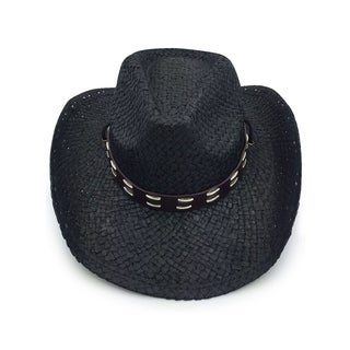 Access Headwear Unisex Old Stone Urban Black Cowboy Drifter Style Hat with Leather Conch