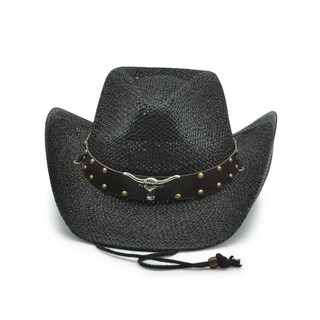 Access Headwear Men's Women's Unisex Old Stone Black Longhorn Cowboy Drifter Style Hat with Leather Studded Conch