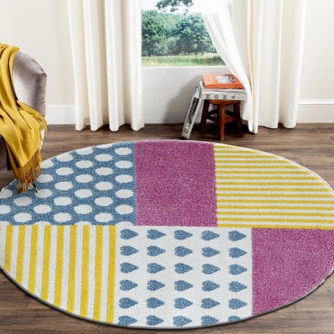 "LR Home Whimsical Patchwork Kids Area Rug ( 4'8"" Round )"