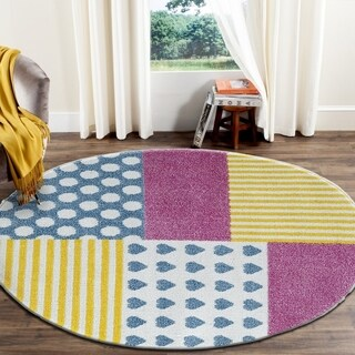"LR Home Whimsical Patchwork Cream / Yellow Kids Area Rug ( 4'8"" Round )"