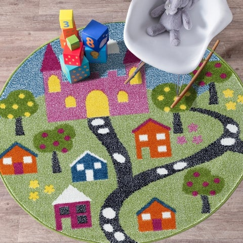 "LR Home Whimsical Fairytale Green / Blue Kids Area Rug ( 4'8"" Round )"
