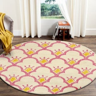 """LR Home Whimsical Bloom Cream / Pink Kids Area Rug ( 4'8"""" Round )"""