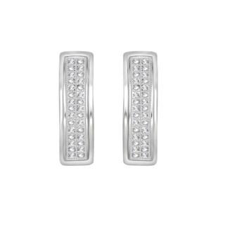 1/10 cttw Round Natural Diamond Hoop Earrings 925 Sterling Silver