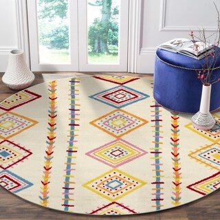 "LR Home Whimsical Dancing Diamonds Cream / Orange Kids Area Rug ( 4'8"" Round )"