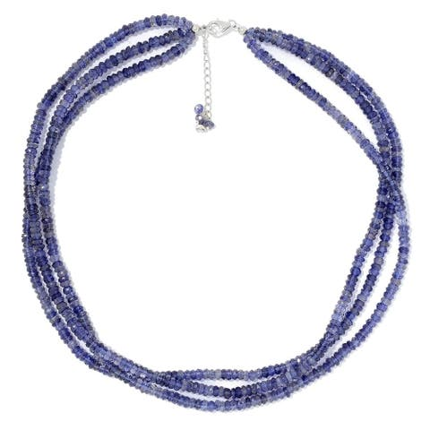 """Pinctore Sterling Silver 18"""" Iolite 3-Strand Beaded Necklace"""
