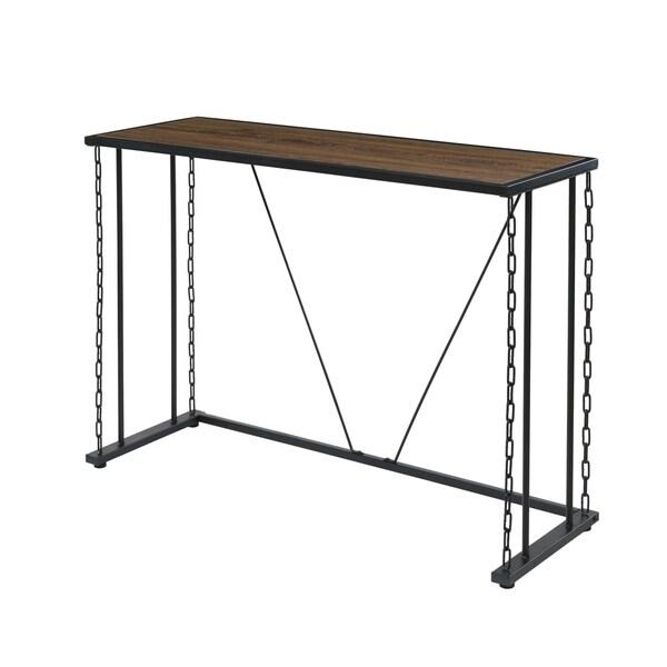 Folsom Ridge Console Table, black steel, Hickory Oak Wood Grain Finish