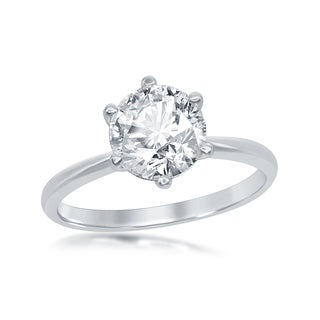 La reciosa Sterling Silver High Polish Four-Prong Solitaire Cubic Zirconia Engagement Ring (3 options available)