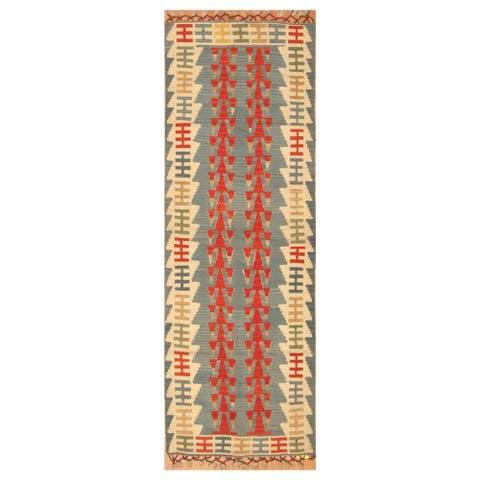 Handmade One-of-a-Kind Anatolia Wool Kilim (Turkey) - 2'8 x 7'4