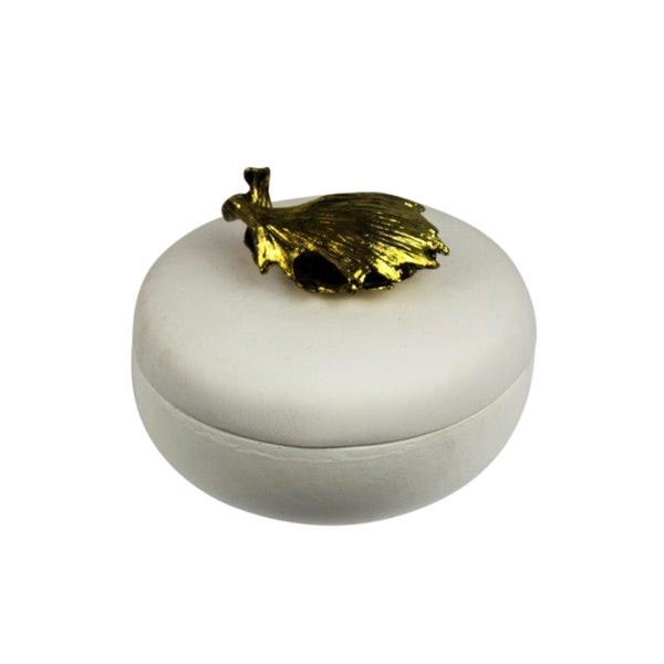 Sagebrook Home 11616 Decorative Resin Covered Box, White Polyresin, 3.75 x  3.75 x 3.25