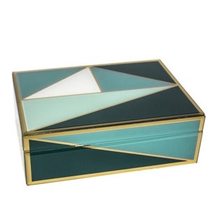 Sagebrook Home 12333-03 Decorative Glass/ Wood Storage Box, Green Mirror/Mdf, 9.5 x 6.75 x 3.25 Inches