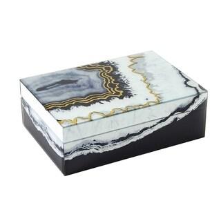 Sagebrook Home 12332-03 Glass & Wood Decorative Box, White/Black Glass/Mdf, 9.5 x 6.75 x 3.5 Inches