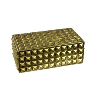 Sagebrook Home 12374-04 Resin Covered Box, Gold Resin, 9.5 x 5.5 x 3.75 Inches