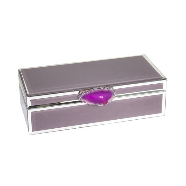 Shop Sagebrook Home 12471 05 Decorative Wood Glass Storage Box W Agate Mauve Mdf 11 X 525 325 Inches