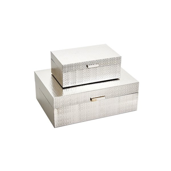 Sagebrook Home 13202 02 Metal/Wood Storage Boxes, Silver Mdf/Glass,