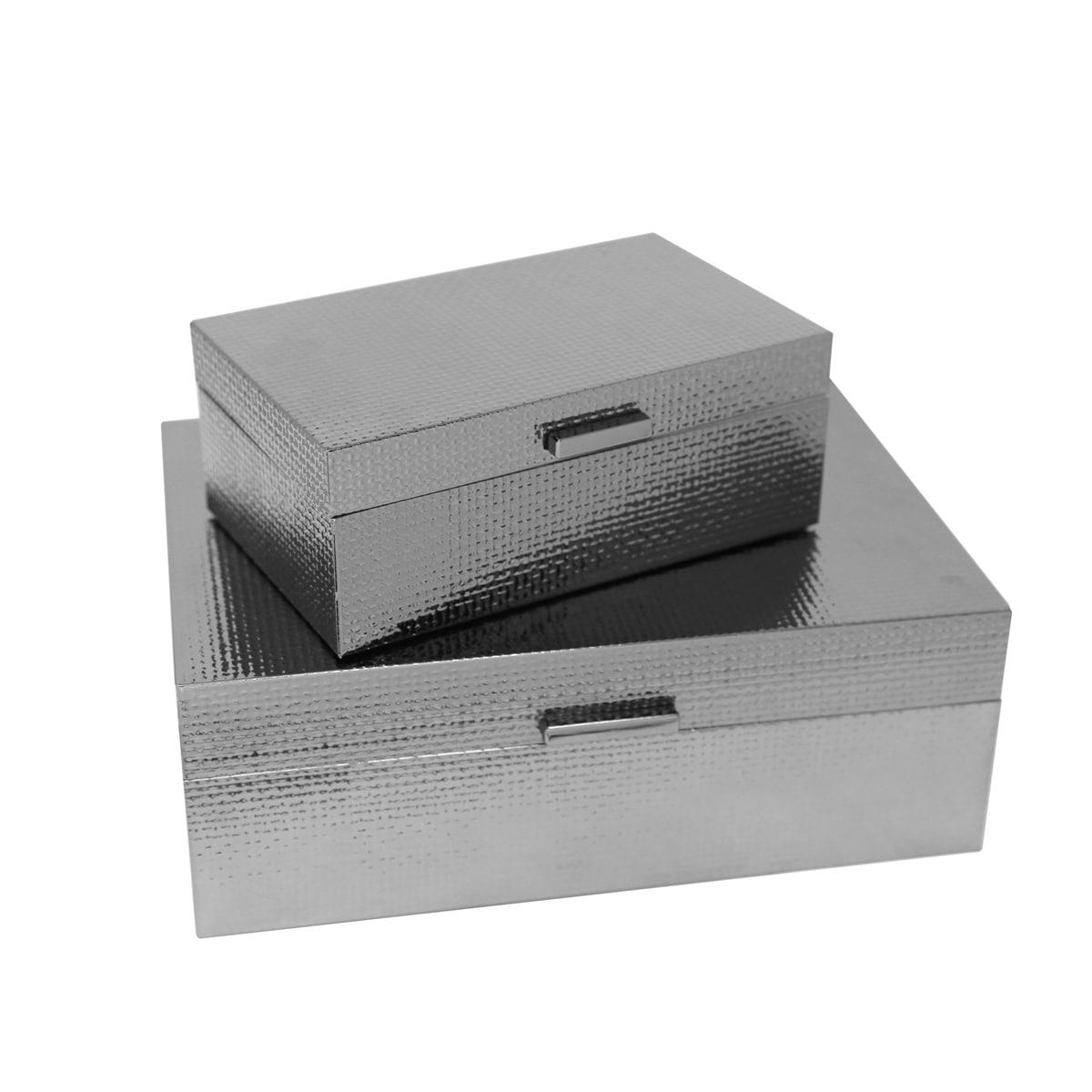 Shop Sagebrook Home 13202 03 Metal Wood Storage Boxes Gun Metal Mdf Glass 11 75 X 8 25 X 4 25 Inches Set Of 2 Overstock 21336382