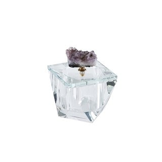 Sagebrook Home 13311-10 Crystal Covered Box W/Agate,Purple Crystal, 4 x 4 x 4.25 Inches