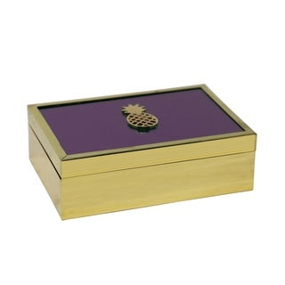 Sagebrook Home 13263-02 Decorative Glass Box W/ Pineapple Accent, Purple Mirror/Mdf, 7.5 x 5.25 x 2.25 Inches