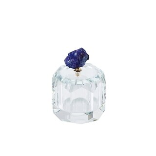 Sagebrook Home 13311-17 Crystal Covered Box W/Agate, Purple Crystal, 4 x 4 x 4.25 Inches