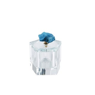 Sagebrook Home 13311-05 Crystal Covered Box W/Agate, Blue Crystal/Agate/Metal, 4 x 4 x 4.25 Inches