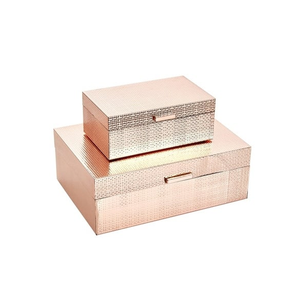 Shop Sagebrook Home 13202 01 Metal Wood Storage Boxes Rose Gold Mdf Glass 1175 X 825 425 Inches Set Of 2