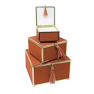 Sagebrook Home 13319-05 Storage Boxes W/ Tassels, Rust Glass/Pu, 7.75 x 7.75 x 4.75 Inches (Set of 3)