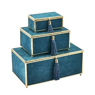 Sagebrook Home 13318-03 Velveteen Storage Boxes W/ Tassel, Teal Glass/Fabric, 10.75 x 6.5 x 4.75 Inches (Set of 3)