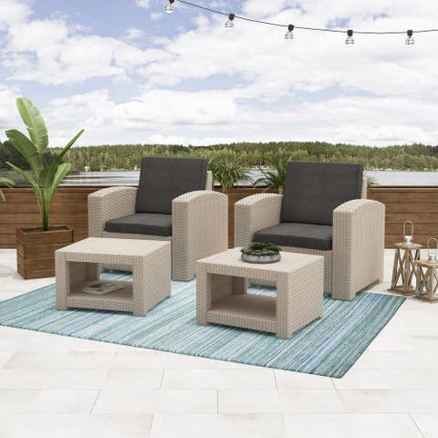 CorLiving Adelaide 4pc All-Weather Chair and Ottoman Patio Set