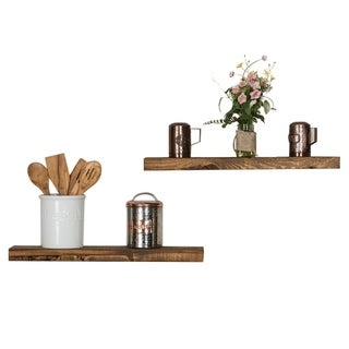"Handmade Del Hutson Designs True Floating Shelves 24"", Set of 2"