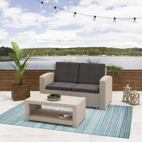 CorLiving Adelaide 2pc All-Weather Loveseat and Coffee Table Patio Set