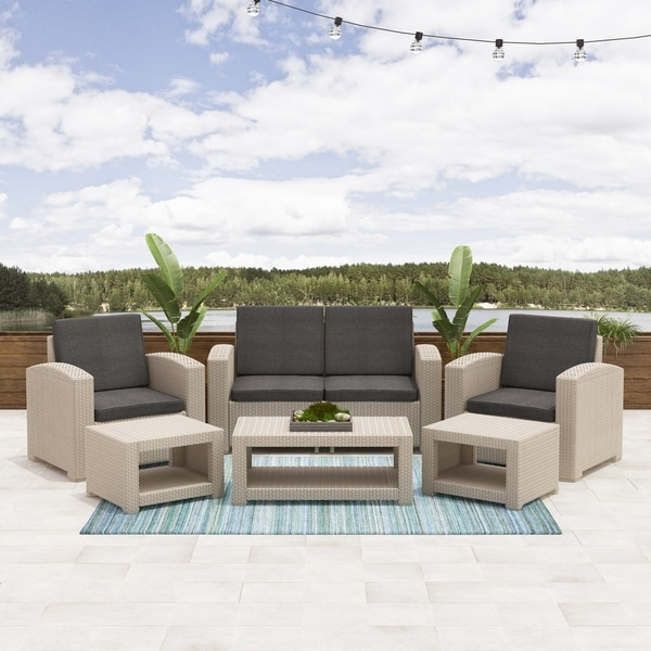 Shop CorLiving Adelaide 6pc All-Weather Patio Set - Free ... on Safavieh Outdoor Living Granton 5 Pc Living Set id=50364