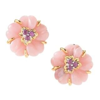 Michael Valitutti Palladium Silver Pink Opal and Pink Rhodolite Flower Stud Earrings