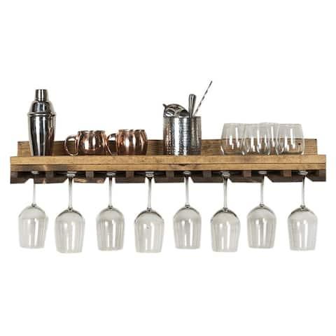 """Handmade Del Hutson Designs Rustic Luxe Stemware Shelf, 36"""""""
