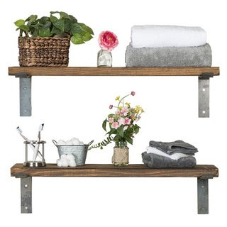 Handmade Del Hutson Designs Industrial Bracket Shelves, Set of 2, 36""
