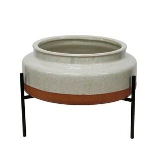 Sagebrook Home 13385-01 Decorative Ceramic Planter On Base, White/Orange Ceramic, 12 x 12 x 4.75 Inches