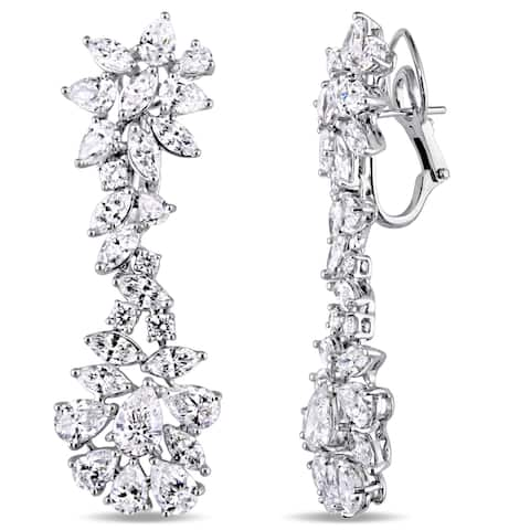 Miadora Signature Collection 18k White Gold 13 5/8ct TDW Multi-Cut Diamond Floral Dangle Earrings