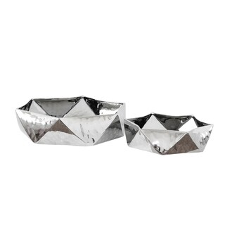 Sagebrook Home 12975 Decorative Hammered Ceramic Pots, Silver Ceramic, 15.75 x 15.75 x 4 Inches (Set of 2)