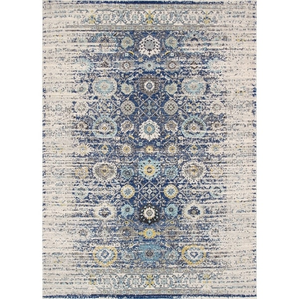 Chelsea Design Navy/Ivory Machine Made/Power Loom Rug (8' X 10') - 8' x 10'