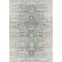 "Chelsea Design Silver/Ivory Machine Made/Power Loom Rug (8' X 10') - 6'7"" x 9'6"""