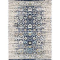 "Chelsea Design Navy/Ivory Machine Made/Power Loom Rug - 6'7"" x 9'6"""